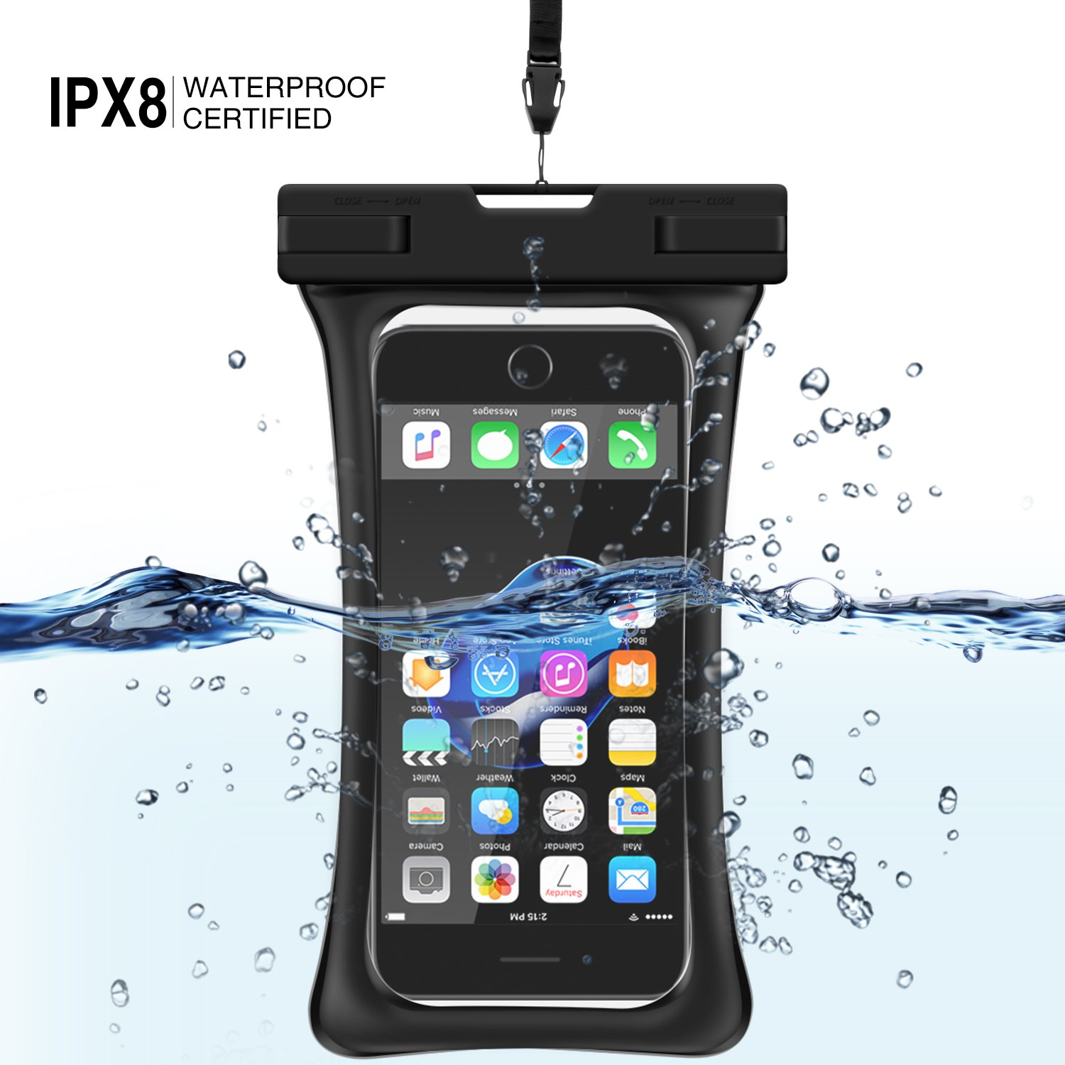 [Floating] Waterproof Phone Pouch, RANVOO Dry Bag Case for iPhone X 8 8 Plus 7 7 plus 6 6s 6 Plus, Samsung Galaxy S9 Plus S8 Edge Note 7, LG G5 G6,with Armband and Lanyard, Up to 6.2''- Black by RANVOO (Image #2)