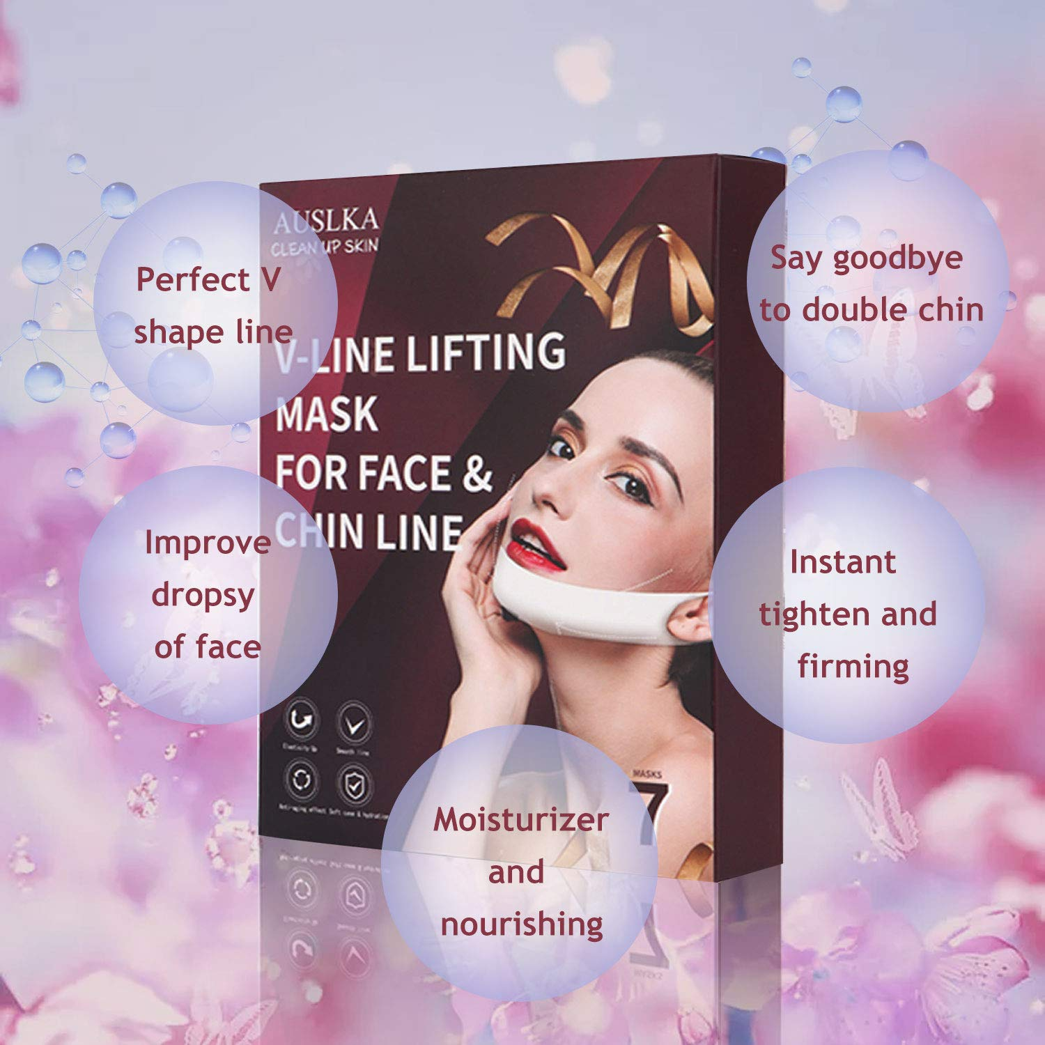 V Line Mask,Double Chin Reducer Chin Mask(7Pcs), V Shaped Face Lifting Chin Up Contour Tightening Firming Moisturizing Сollagen Chin Mask