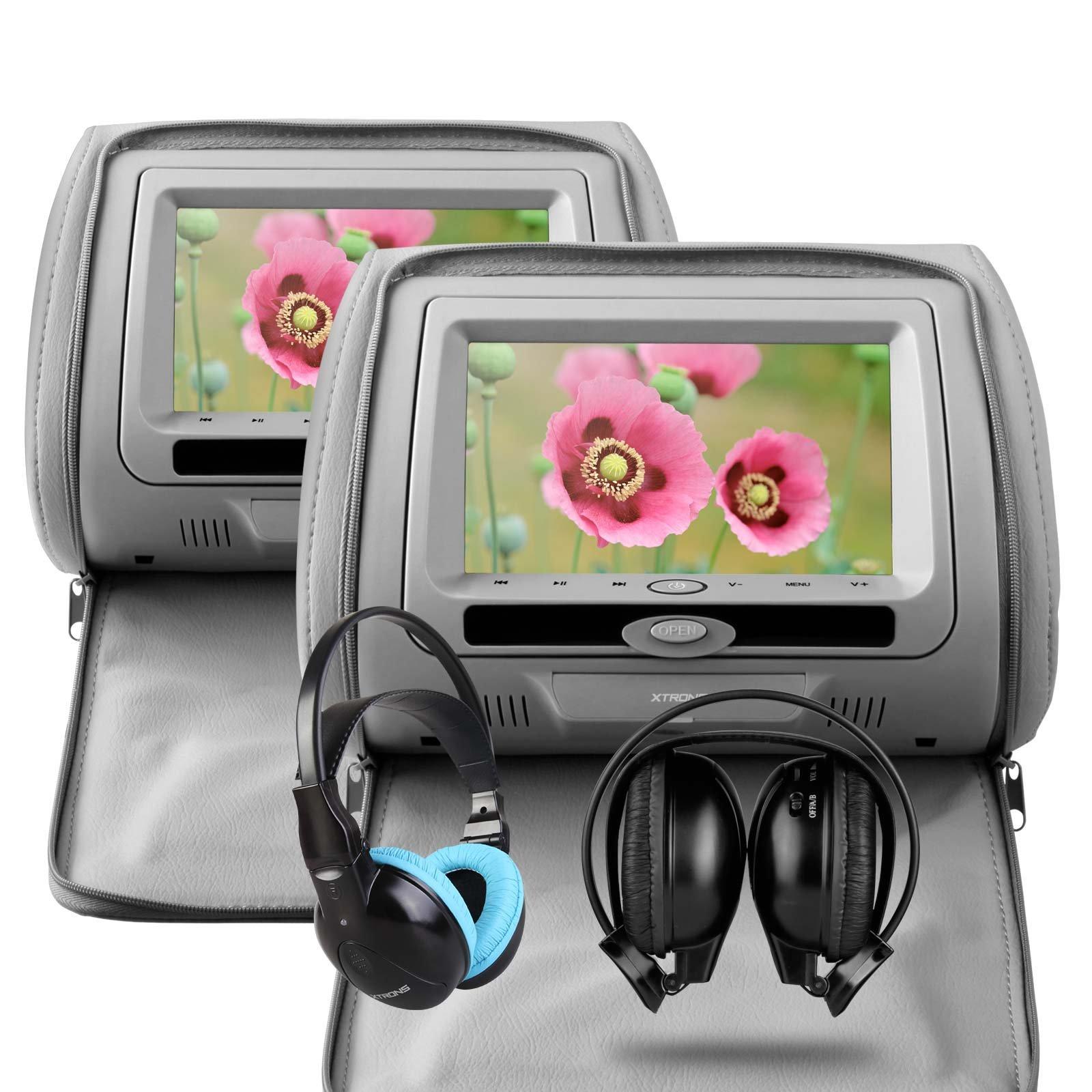 XTRONS® Grey 2X Twin Car Headrest dvd player with Multi-Media USB SD Slot 7'' HD Screen Game Disc IR Headphones