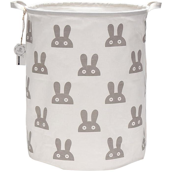 "Sea Team 19.7"" Large Sized Waterproof Coating Ramie Cotton Fabric Folding Laundry Hamper Bucket Cylindric Burlap Canvas Storage Basket with Cute Bunny Design (Grey)"