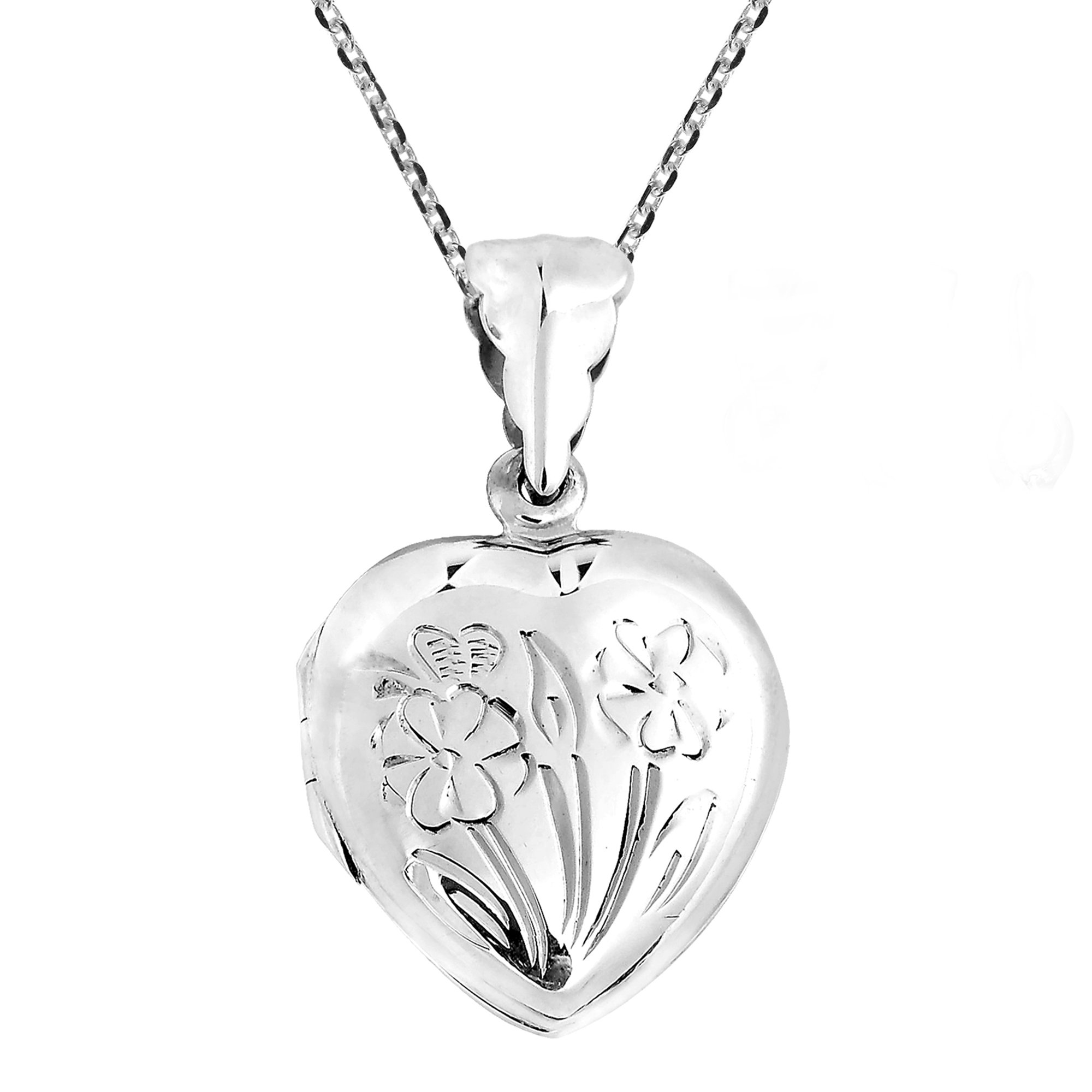 AeraVida Heart of Floral Blossoms Locket .925 Sterling Silver Pendant Necklace by AeraVida