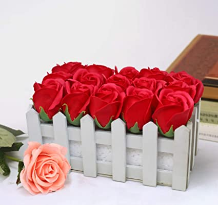 Buy TIED RIBBONS Wooden Flower Vase with Faux Red Rose Flowers for Home Decor Center Table Bedroom Side Corners Living Room Dining Room Office Online ... & Buy TIED RIBBONS Wooden Flower Vase with Faux Red Rose Flowers for ...