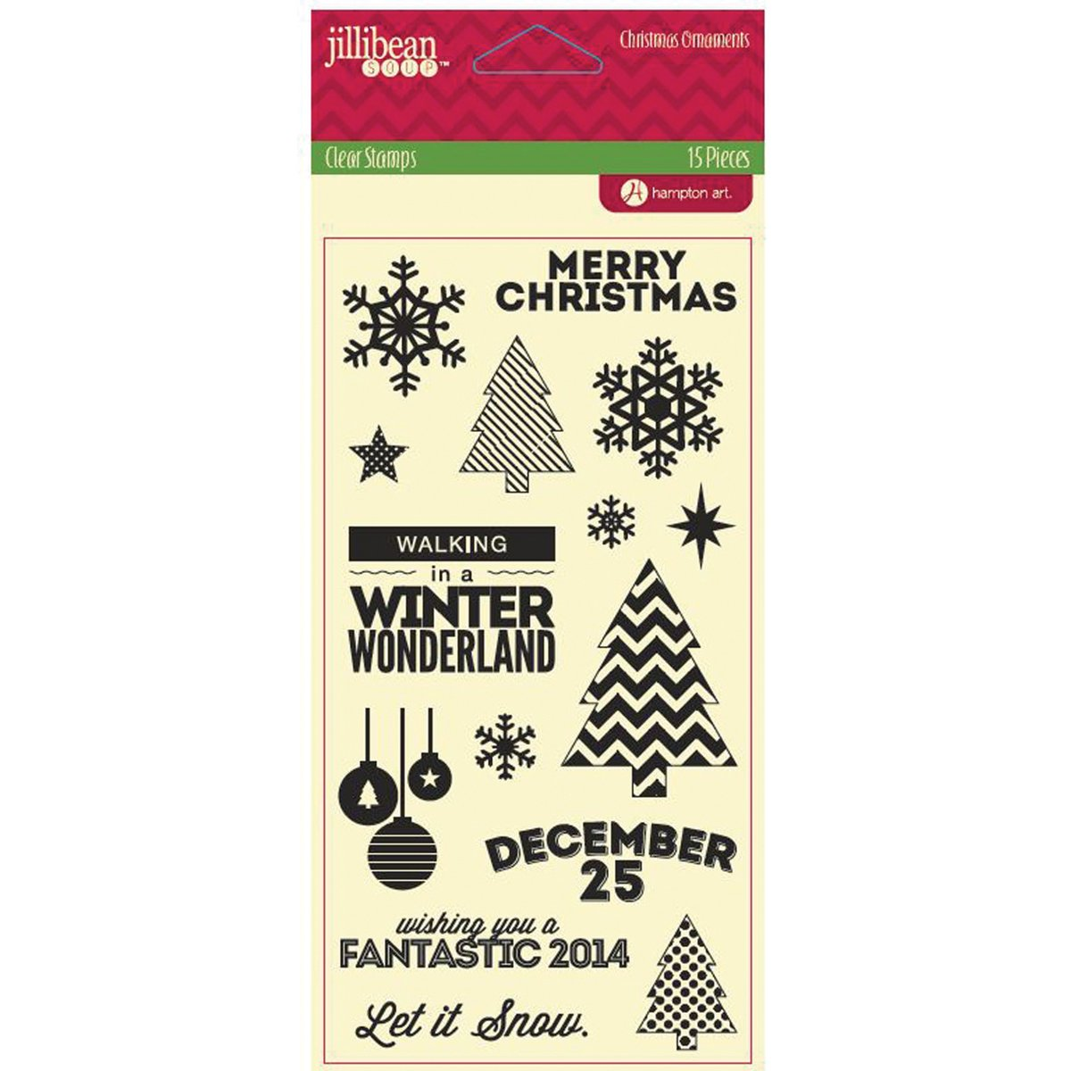 Hampton Art Jillibean 8-Inch, Soup Stamp, 4 by 8-Inch, Jillibean Christmas Ornaments, Clear by Hampton Art feabcc