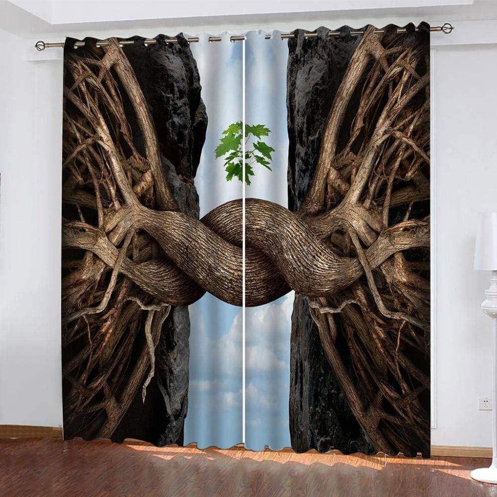 CLYDX Cortina Cortinas de Salon Raíces de Árbol Marrón Dormitorio Opaca con Cortina Ventanas, Visillos Salon Moderno 117 x 138 cm (Ancho X Alto) 2 Paneles