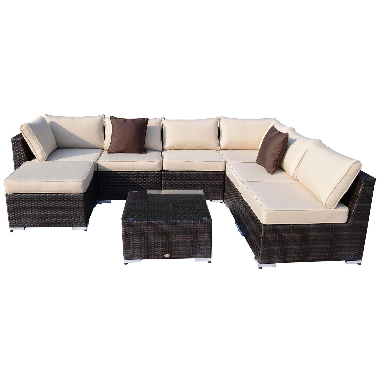 Amazon.de: Outsunny Gartenmöbel 25 teilig Polyrattan Sofa Sitzgruppe ...