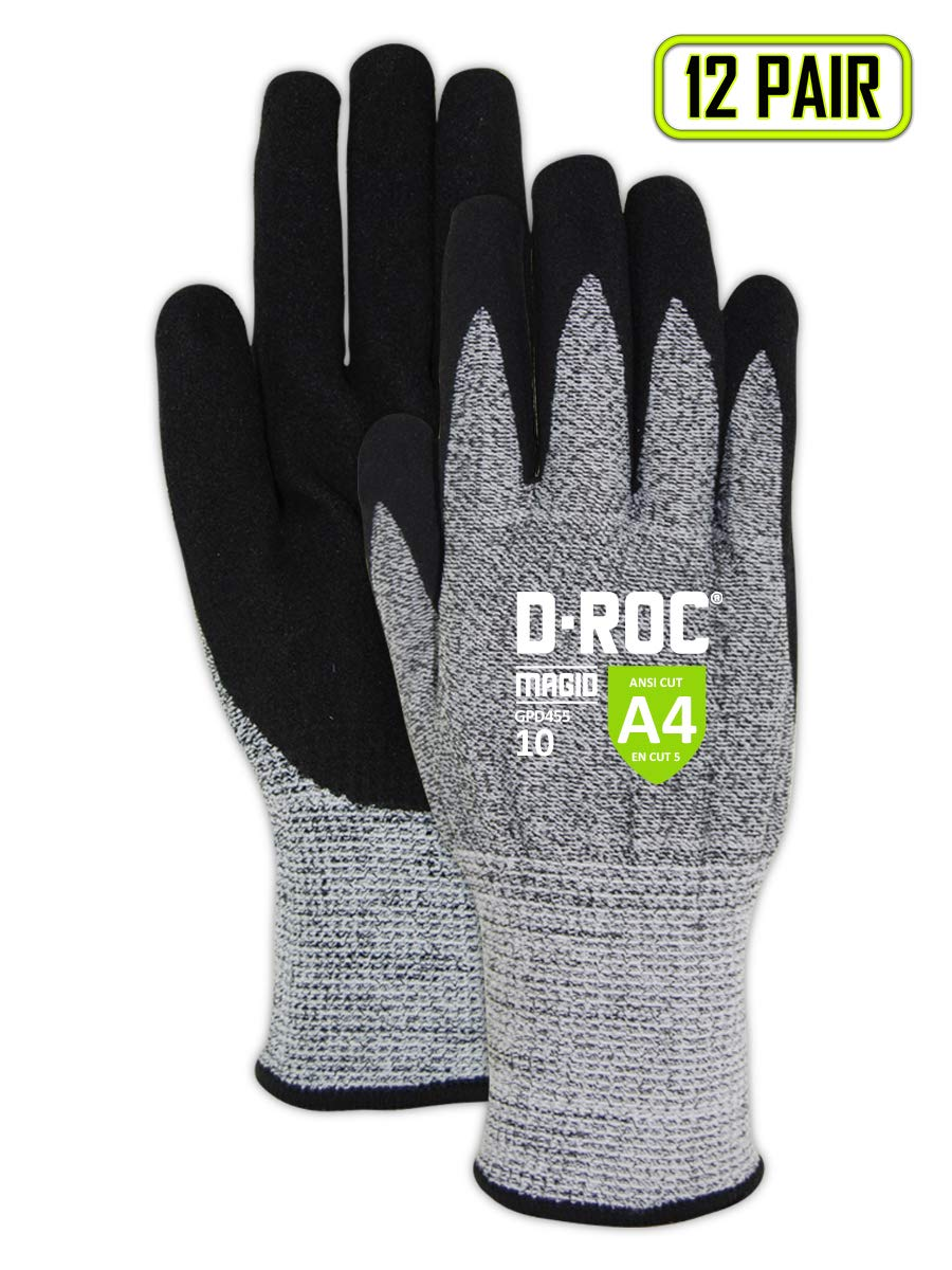 MAGID Cut Resistant Nitrile Coated Gloves, Size 8 (12 Pairs)