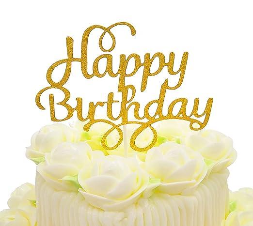 Decoración para tarta de cumpleaños, diseño con purpurina ...