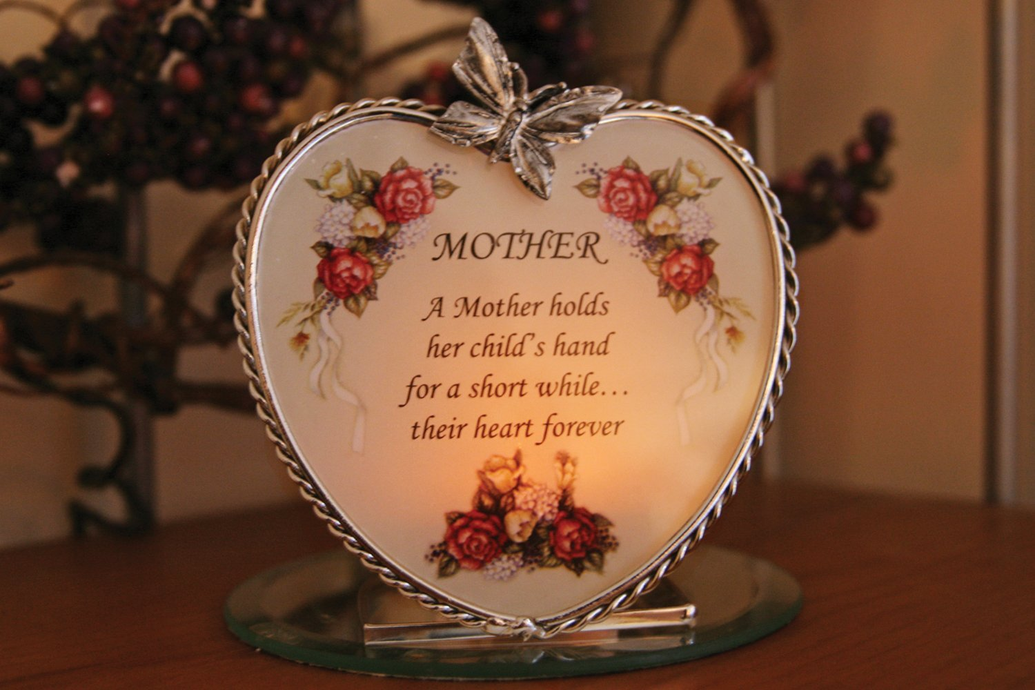 Amazon BANBERRY DESIGNS Mom Heart Candle Holder