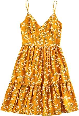 ZAFUL Women's Cami Dress Button Floral Print A Line Dress Casual