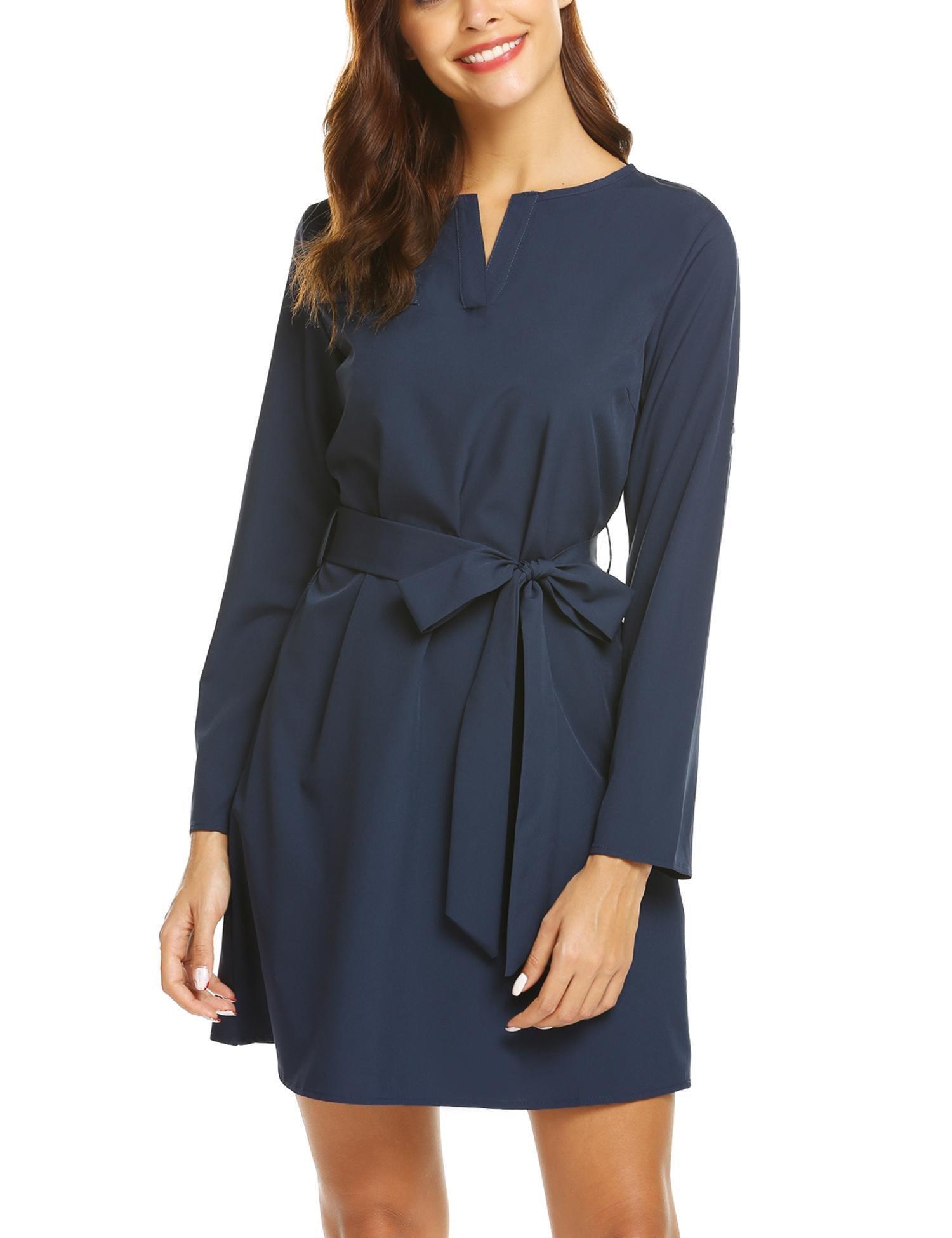 SE MIU Women Shirt Mini Solid O Neck Business Belted Tunic Dress, Navy Blue, L