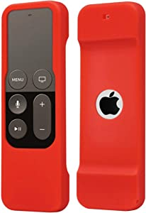 Remote Case Compatible with Apple TV 4K (5th) and 4th Generation, Auswaur Shock Proof Silicone Remote Cover Case Compatible with Apple TV 4th Gen 4K 5th Siri Remote Controller - Red