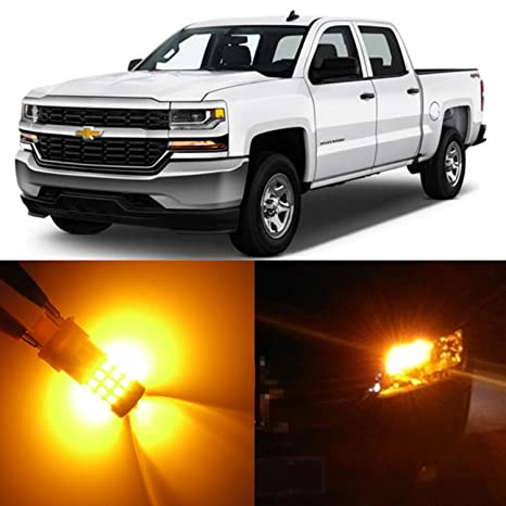 Alla Lighting 2pcs Super Bright 4157NAK 3157AK Amber Yellow LED Bulbs Front  Turn Signal Blinker Light Lamps for 1999~2013 Chevy Chevrolet Silverado