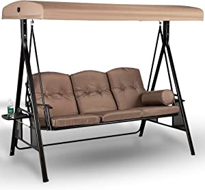 Project One Products 3-Seat Deluxe Outdoor Patio Porch Swing with Weather Resistant Steel Frame, Adjustable Tilt Canopy, Cushions and Pillow Included