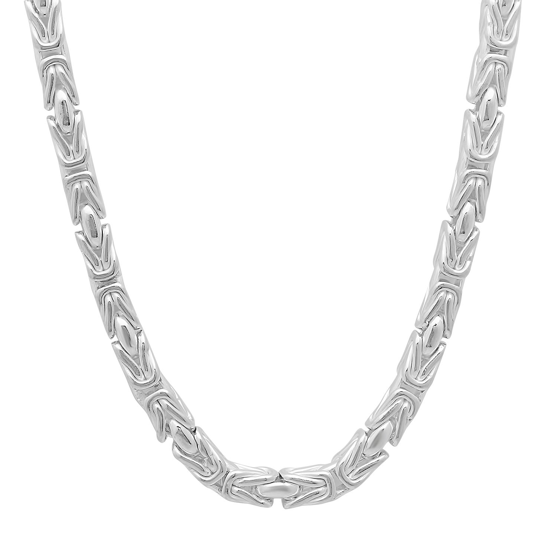 4mm 925 Sterling Silver Nickel-Free Boxed Byzantine Link Italian Chain, 20'' + Bonus Polishing Cloth