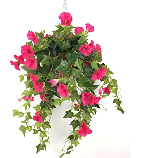 Amazon nearly natural 6608 bougainvillea hanging basket lopkey silk morning glory artificial flowers patio lawn garden hanging basket decorred3pcs mightylinksfo