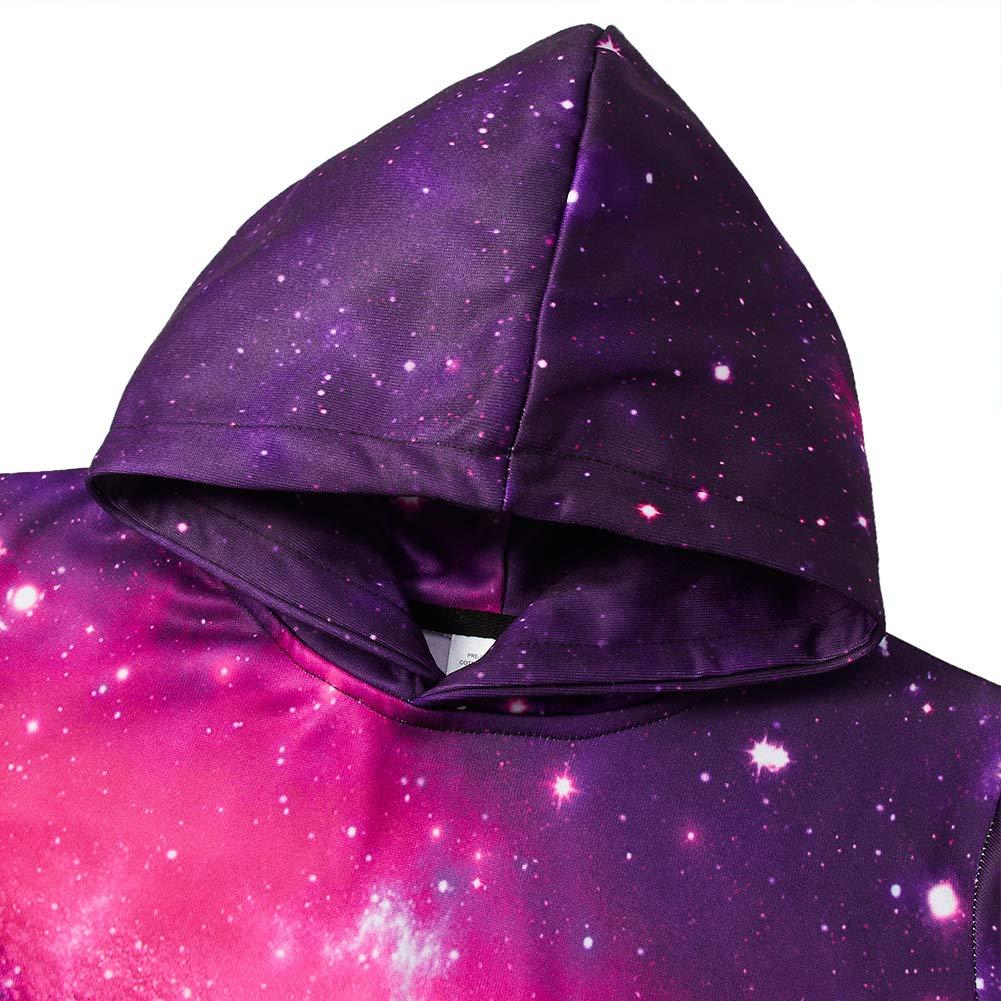 RAISEVERN Jungen/Mädchen Zwillinge Kleidung Winter Weihnachten Hoodie 3D Space Galaxy Kapuzenpulli Bunter Nebelfleck-Pullover
