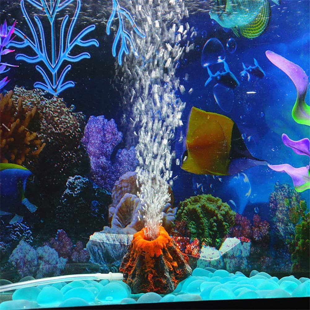 bulingbuling Aquarium Volcano Air Stone Bubbler Oxygen Pump Resin Crafts Ornament Fish Tank Decorations Aquarium Accessories Air Pump is Not Included