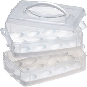 Snapware 1098734 Snap N Stack 2-Layer Food Storage Container with Egg Holder Trays, Medium, Clear