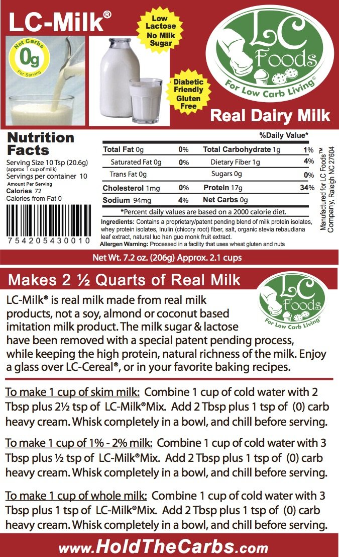 Low Carb Milk Mix - LC Foods - All Natural - High Protein - Low Lactose - High Calcium - No Sugar - Diabetic Friendly - Low Carb Milk - 7.2 oz