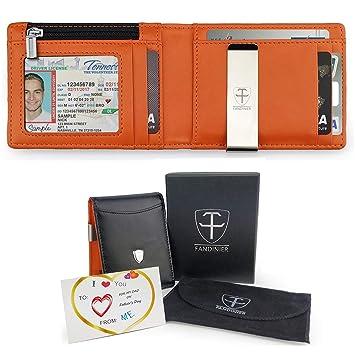 FANDINIER Cartera hombre, billeteras hombre cartera hombre pequeña, Cartera Piel Hombre con Clip y RFID Bloqueo para Varias Tarjetas personales con Caja de ...