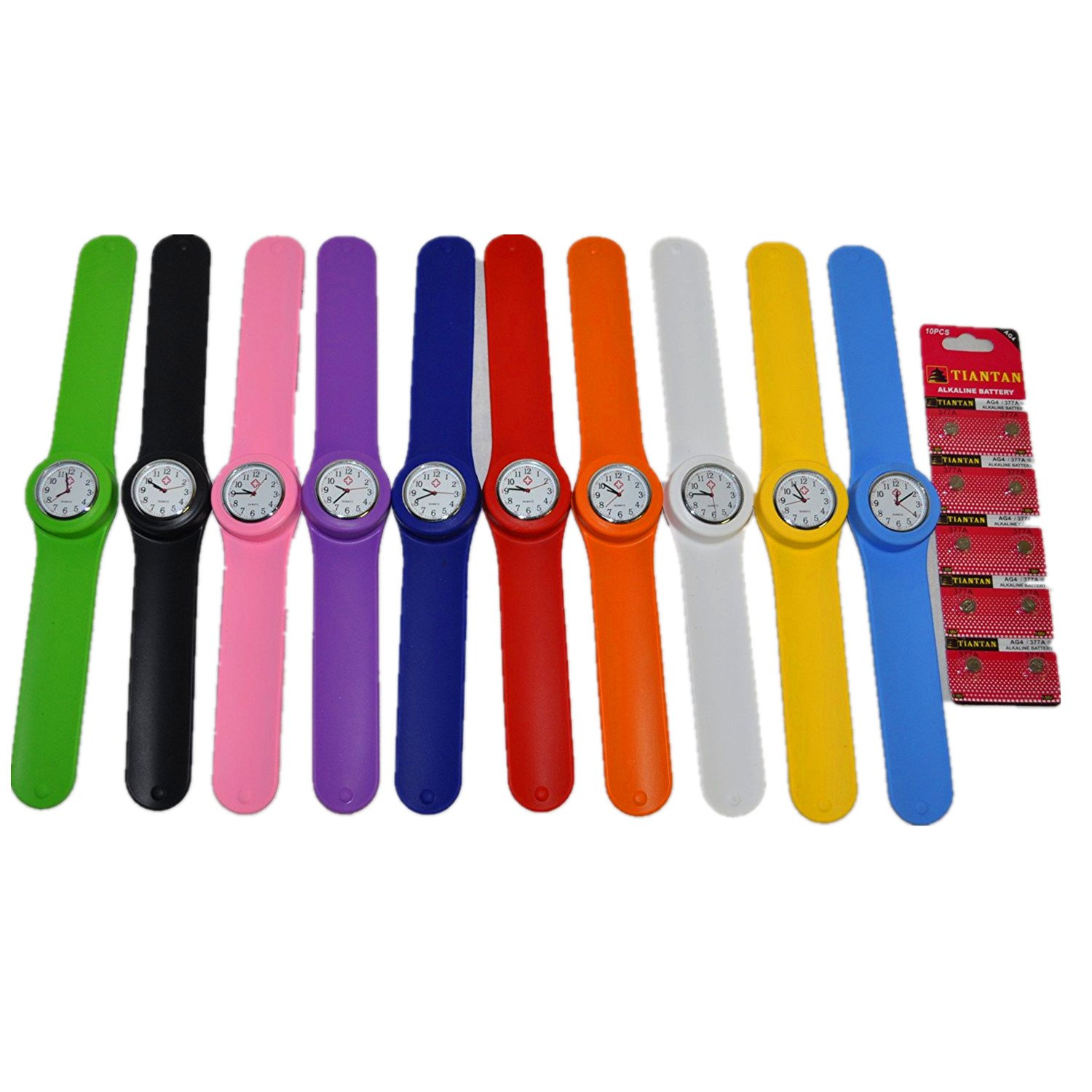 10 Slap Watch set Wholesale Lot - Full face with all 12 numbers