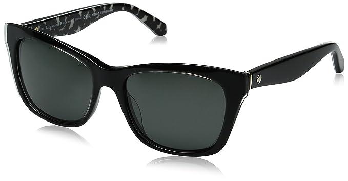 34905bf7143 Kate Spade Women s Jenae ps Square Sunglasses BLACK CREAM TRANSPARENT GRAY  POLARIZED 53 mm