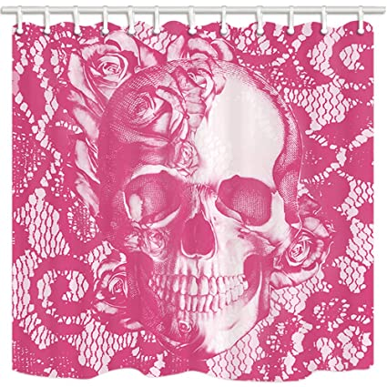 NYMB Weird Shower Curtain Pink Rose Skull Love With Death Lace Background Mildew Resistant
