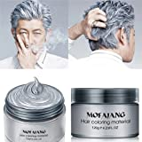 MS.DEAR Instant Silver Grey Hair Wax, Hairstyle Cream 4.23 oz, Silvery Grey Hair Pomades, Natural Silver Ash Matte Hairstyle Wax for Men and Women