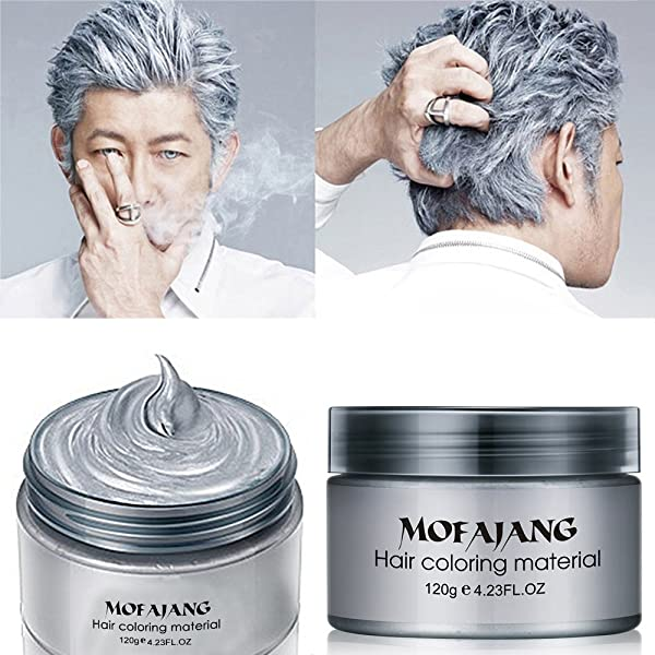 MOFAJANG Hair Color Wax,Instant Silver Grey Hair Wax,Temporary Hairstyle Cream 4.23 oz, Silvery Grey Hair Pomades, Natural Silver Ash Matte Hairstyle Wax for Men and Women (Ash Matte Grey) (Color: Ash Matte Grey)