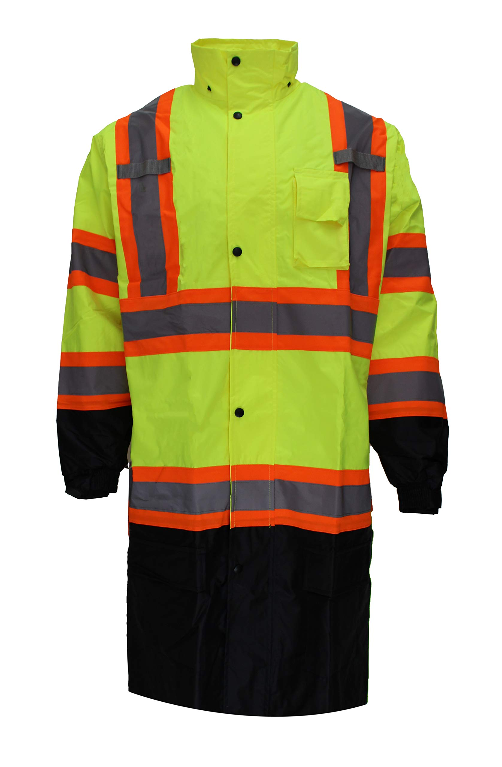 RK Safety RC-CLA3-TLM66 Class 3 Rainwear Reflective Hi-Viz Black Bottom Long Rain Coat with X pattern (Extra Large, Lime)
