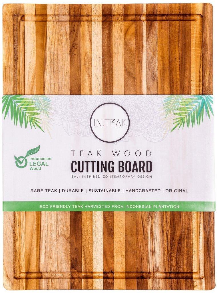 Bali Inspired Teak Wood Cutting Board (20x15x1.5 in.) with Hand Grip & Juice Canal by IN.TEAK - World Awarded Original Indonesian Teak by IN.TEAK