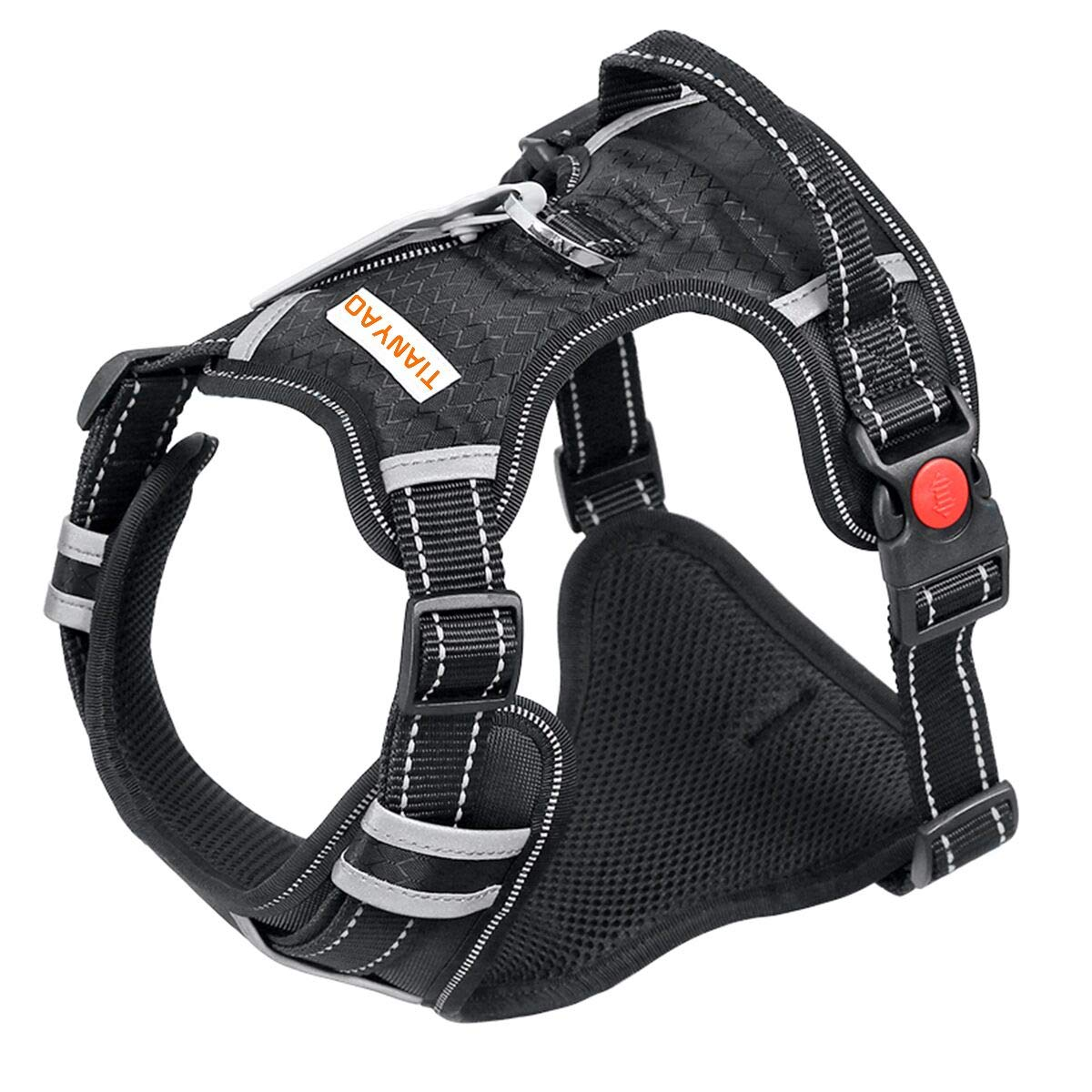 TIANYAO Large Dog Harness No Pull Reflective Oxford Material Soft Pet Vest Adjustable for Large Dogs Easy Control Harness with Dog Collar (L, Black)