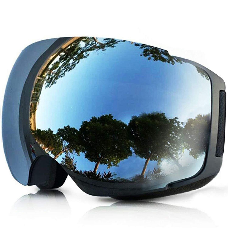 TUONROAD Maschera da Sci Snowboard Trattamento Protezione Super grandangolo Goggles Maschera Occhiali antinebbia UV400 Anti Nebbia Completa per Adulti e Adolescenti S-Silver