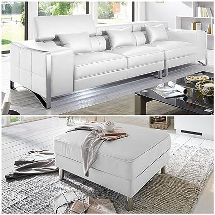 XXL Big de sofá de piel Leder 4-plazas con piel sintética de ...