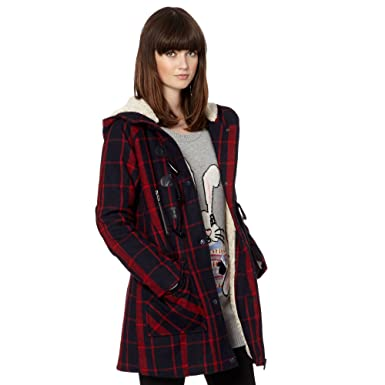 H! By Henry Holland Womens Blue And Red Checked Duffle Coat 6: H ...
