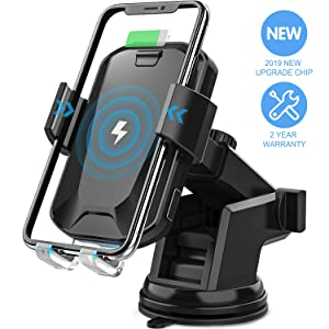 Wireless Car Charger, CHGeek 10W Qi Fast Charging Auto Clamping Car Mount Windshield Dashboard Air Vent Phone Holder for iPhone 11 11 Pro Max Xs MAX XS XR X 8+, Samsung Galaxy S10+ S9+ S8 Note 9, etc
