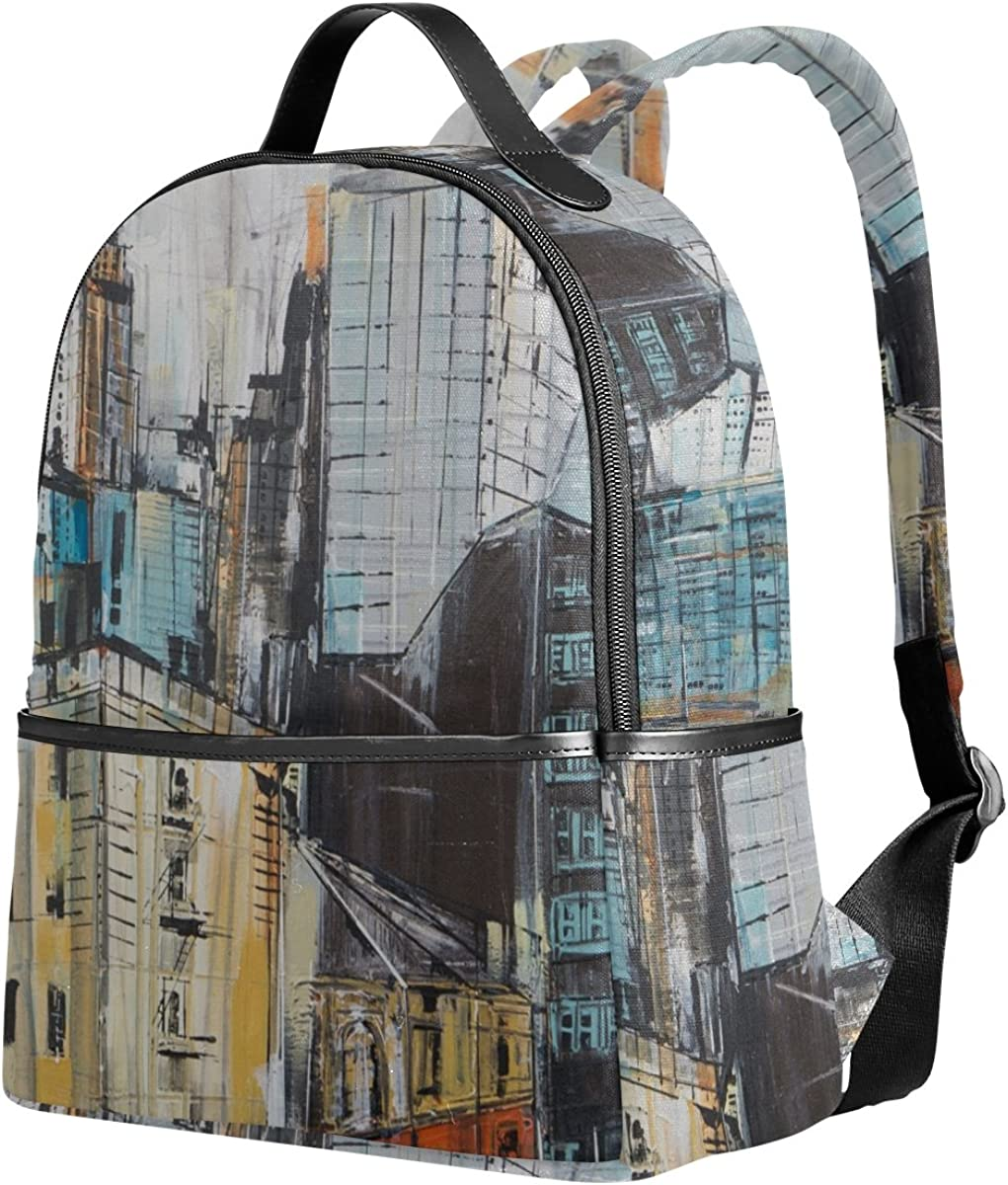 Mr.Weng Busy City Painting Printed Canvas Backpack For Girl and Children