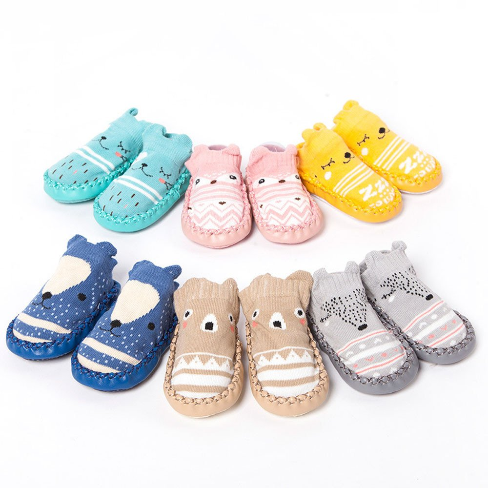 Sunward Cute Baby Boys Girls Toddlers Moccasins NON-SKID Indoor Shoes Socks/Slippers 258882