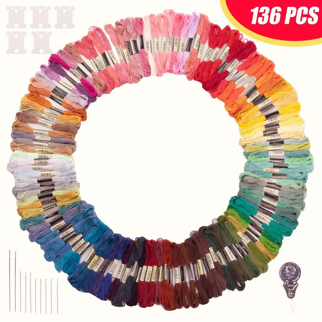 STOCKYFY Embroidery Thread Rainbow Color Embroidery Floss 120 Skeins /& Accessories Per Pack Friendship Bracelets Cross Stitch Threads /& Craft Floss