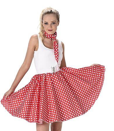 aeacba49abd3 Karnival Red Polka Dot Skirt Ladies Fancy Dress Rock Roll 50S Womens Adult 1950S  Costume (Medium Uk 12-14): Amazon.in: Toys & Games