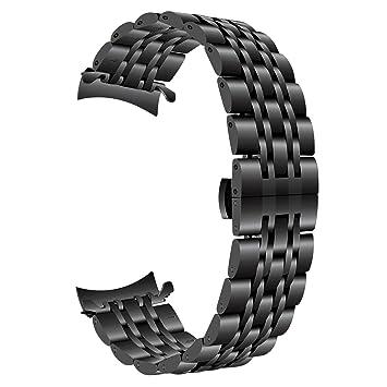 TRUMiRR para Gear S3 Correa de Reloj, 22mm Correa de Reloj de Acero Inoxidable Curvo End Strap Butterfly Hebilla Brazalete para Samsung Gear S3 ...
