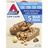 Atkins Chocolate Hazelnut Crisp Bars | Keto Friendly Bars | 5 x 37g Low Carb Chocolate Hazelnut Bars | Low Carb, Low…