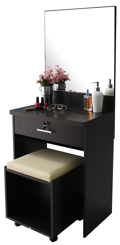 schminktisch mit spiegel schlo mit schl ssel gepolstertem hocker schublade und schublade. Black Bedroom Furniture Sets. Home Design Ideas