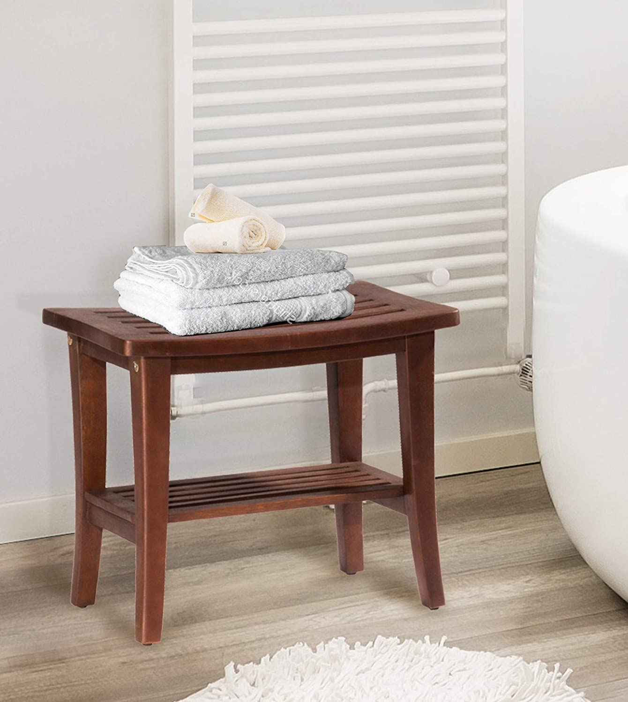 Hillsdale Furniture Preston shower vanity stool, walnut