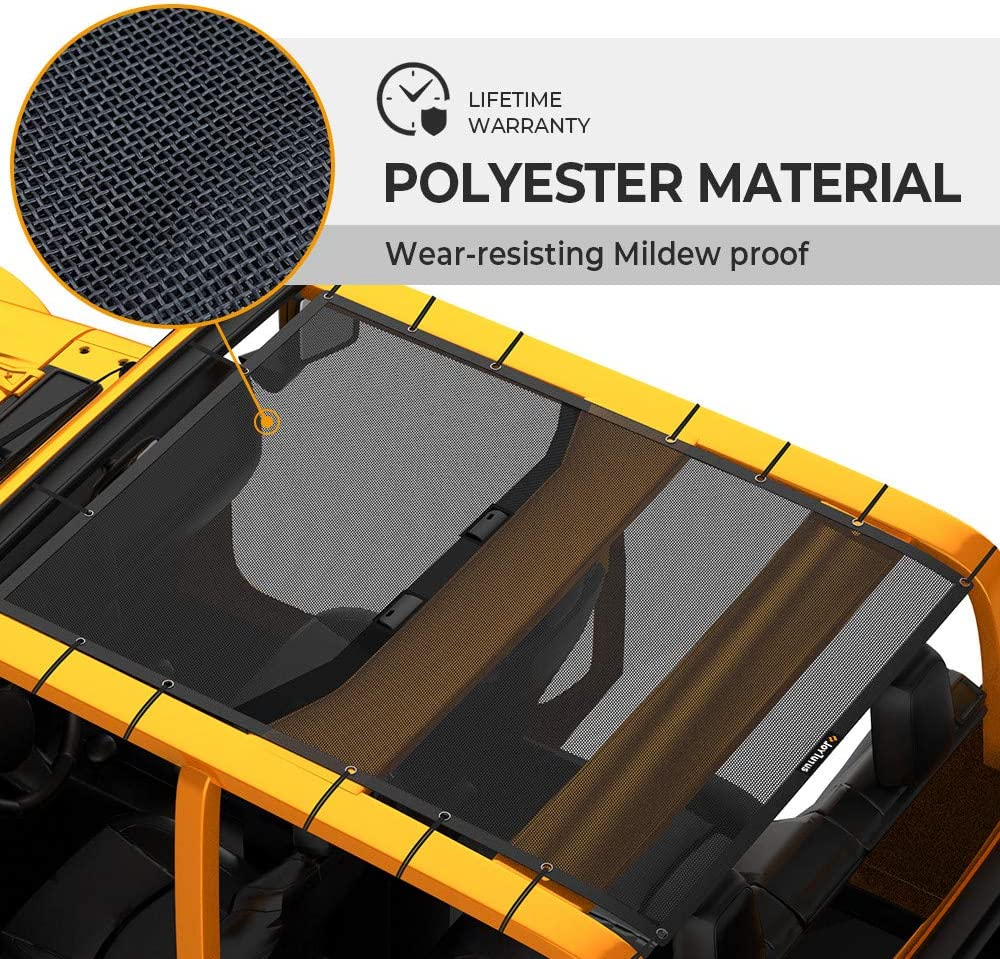Sun Shade Mesh Top Cover UV Protection for your 2020 Jeep Gladiator 4 Door JT Hard Top Top Sun shade Compatible with Jeep Gladiator
