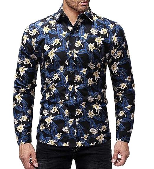 5be8b8f2f75 Jotebriyo Men s Slim Fit Button Down Floral Print Plus Size Long Sleeve  Dress Work Shirt Blue