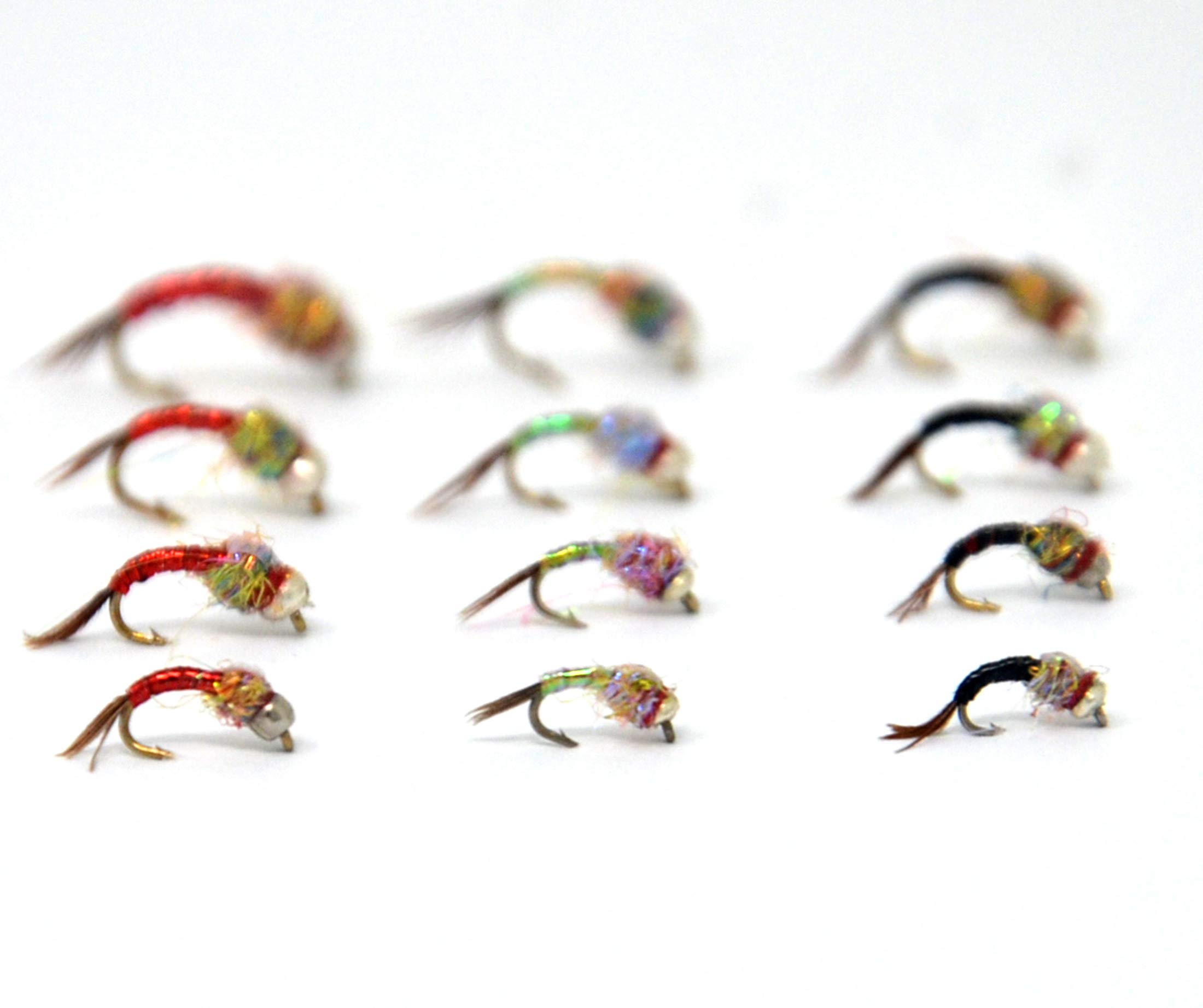 Outdoor Planet 12 Rainbow Warrior Atrractor Fly Fishing Nymphs & Wet Flies Assortment for Trout Fishing Flies by Outdoor Planet