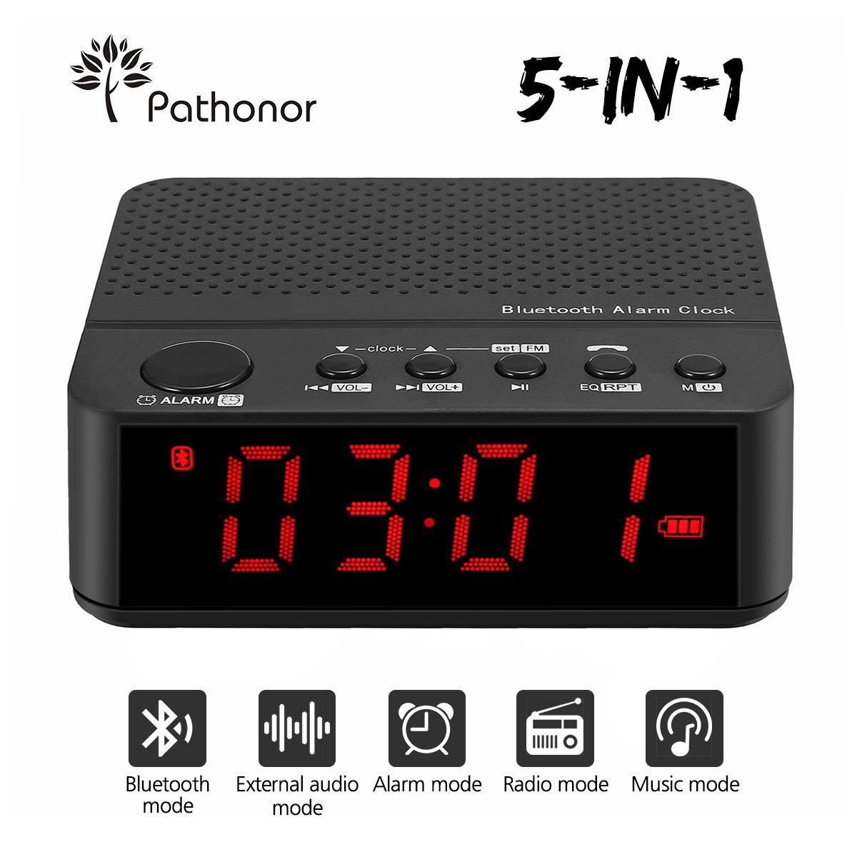 Bluetooth Speaker Alarm Clock Radio Pathonor FM Alarm Clock, LED Digital Alarm Clock, Wireless Bluetooth Snooze Clock, Alarm Clock Portable with USB Charging Port Black