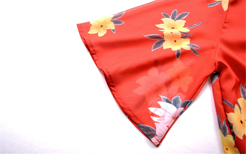 Arctic Cubic Chiffon Ruffled Ruffle Hem Short Sleeve Deep V Neck Cross Wrap Front Floral Playsuit Romper Jumpsuit Red