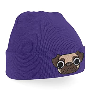 Ribbed Knitted Beanie Hats for Women Pug Puppy Dog Face Cute Beanies  Embroidered Animal Face Wooly Hat One Size Fits All Cuffed Turn Up Knit Cap  Skullies ... b91c3446d5b